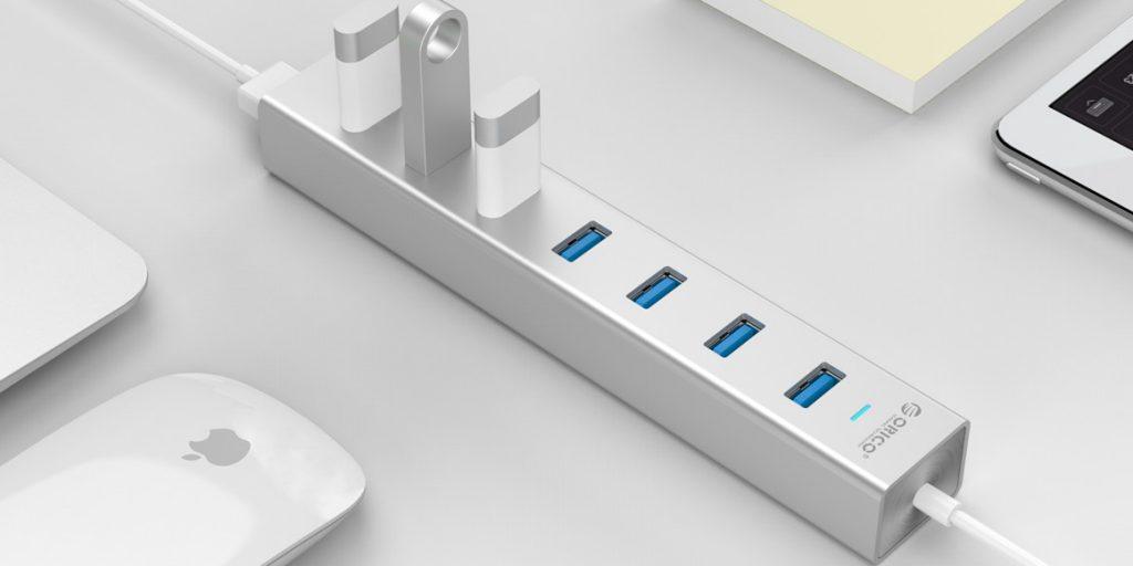 هاب 7 پورت USB 3.0 آلومینیومی با آداپتور H7013-U3-SV