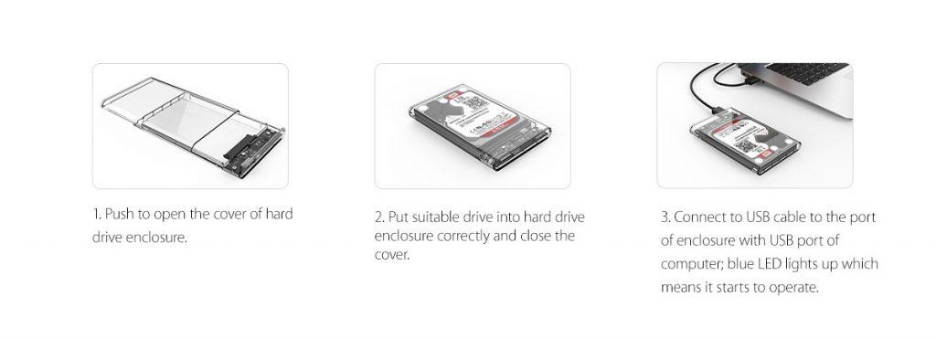 باکس هارد USB 3.0 شفاف