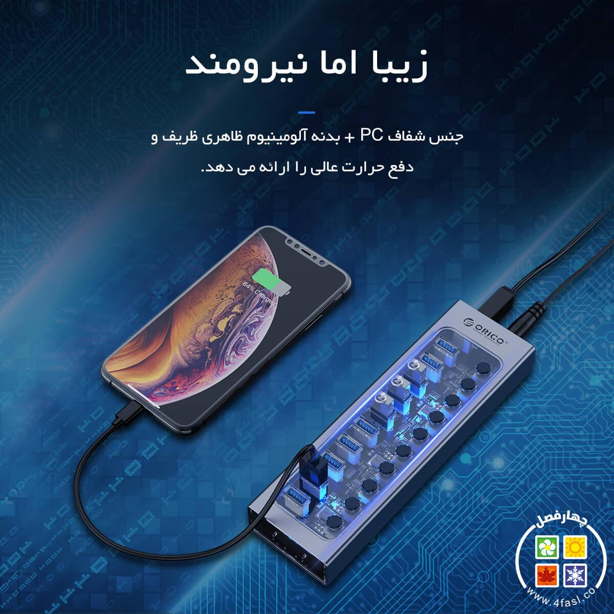 هاب 7پورت USB3 کلیددار